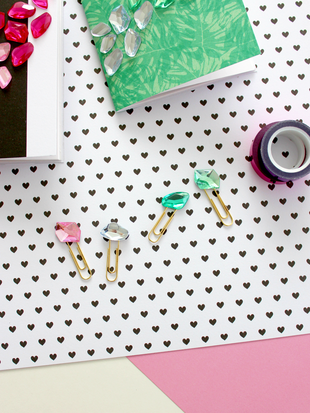 DIY OMBRE GEMSTONE NOTEBOOKS WITH MATCHING PAPER CLIPS