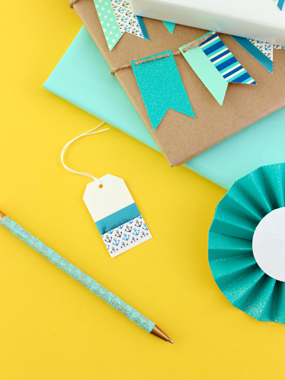 SAY IT WITH BLUE: WASHI TAPE FLAG GARLAND GIFT WRAP