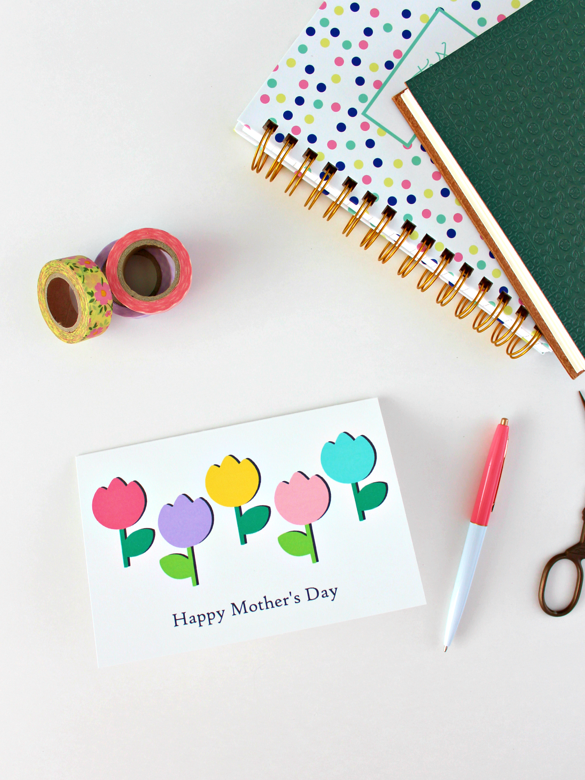 PRINTABLE TULIPS MOTHER'S DAY CARD