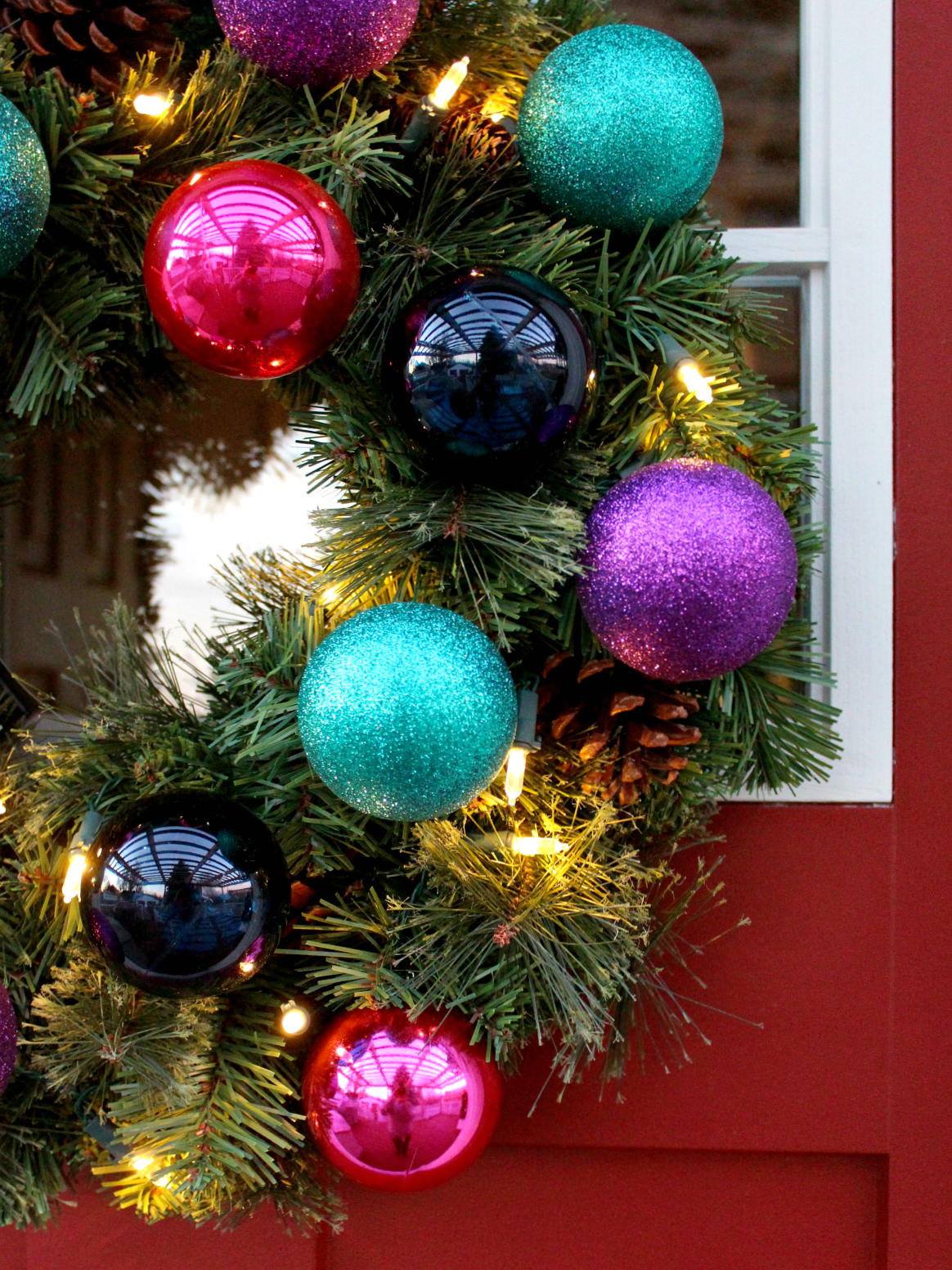 DIY COLOURFUL BAUBLE DOOR WREATH WITH LED LIGHTS