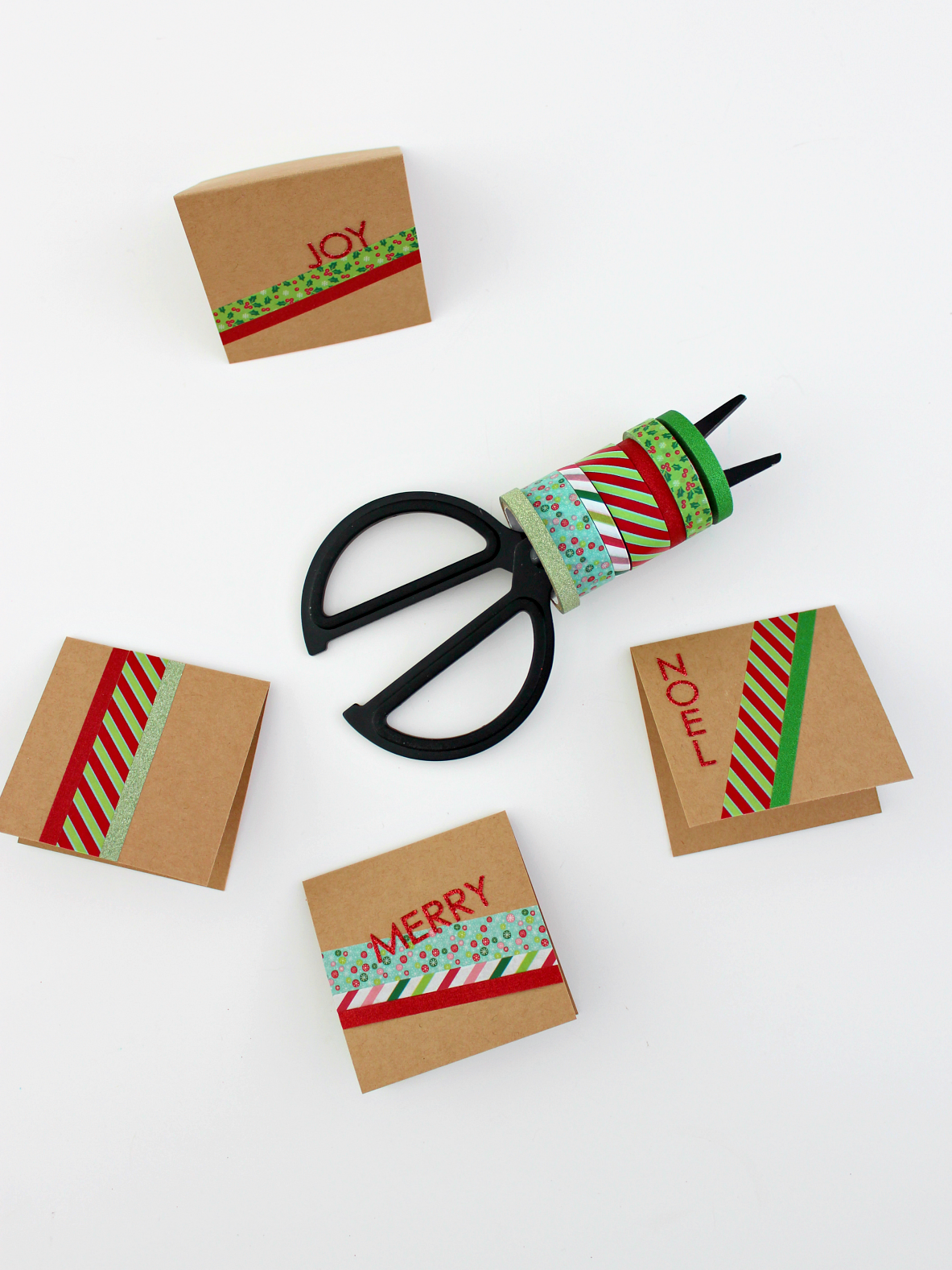 MINI & MERRY CARDS WITH WASHI TAPE
