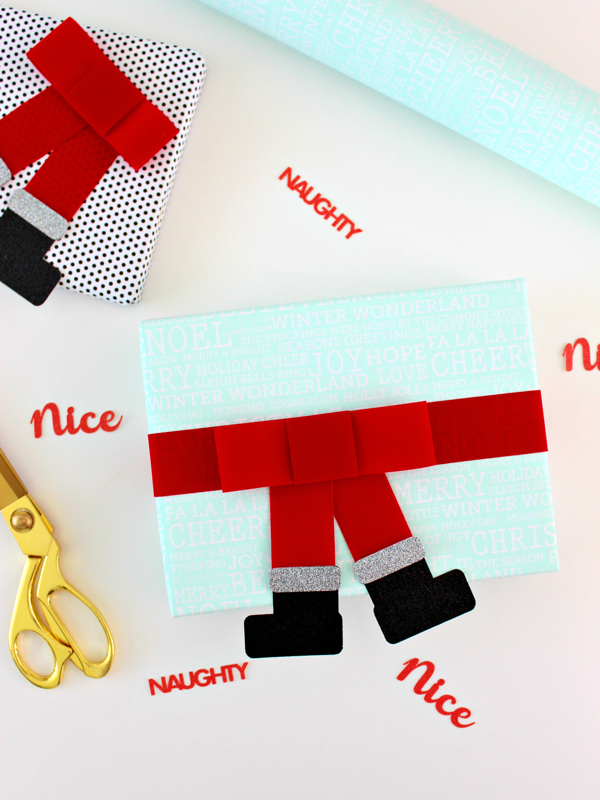 SANTA BOOTS RIBBON WRAPPED PRESENTS (WITH FREE TEMPLATE)