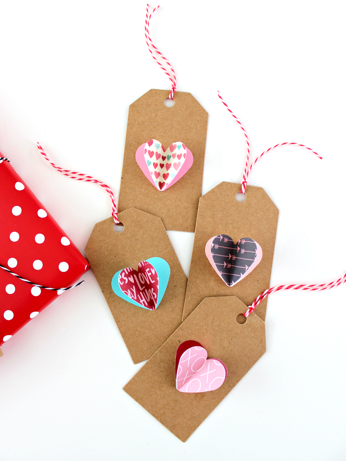 SIMPLE 3D PAPER HEART GIFT TAGS