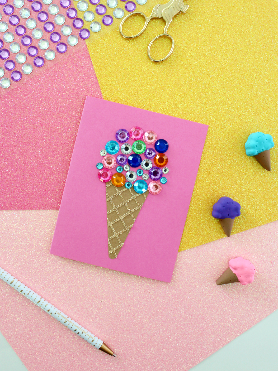 DIY RHINESTONE ICE CREAM CARD (WITH FREE SVG)