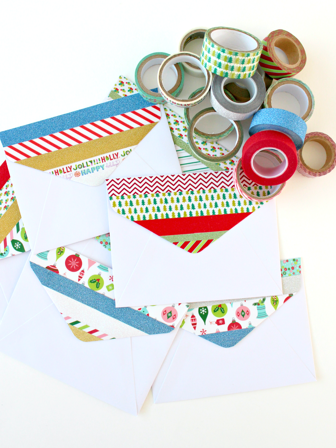 CHRISTMAS WASHI TAPE ENVELOPE FLAPS (& NEW GLITTER TAPE FOR SALE!)