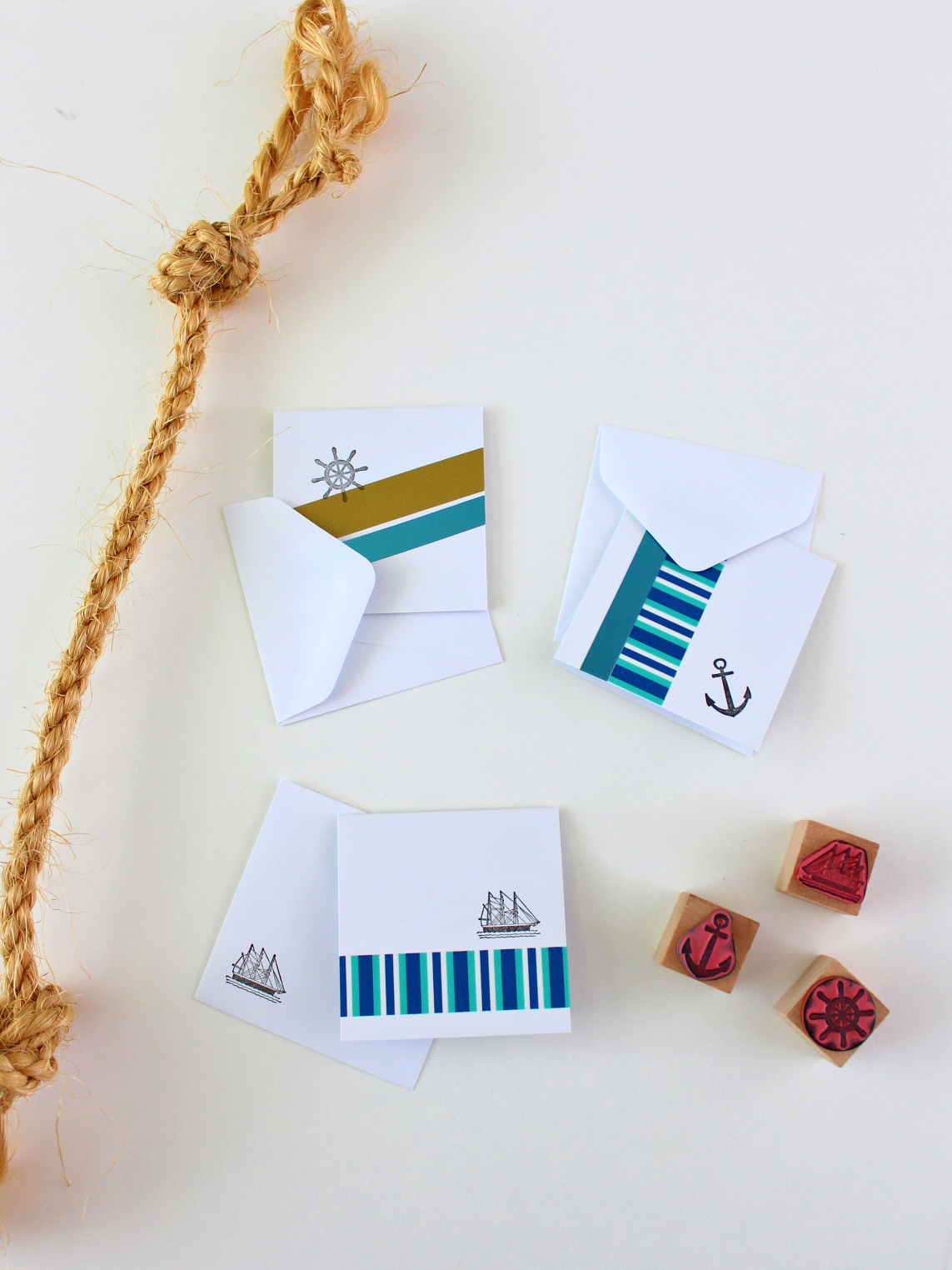 MINI NAUTICAL CARDS WITH WASHI TAPE & STAMPS
