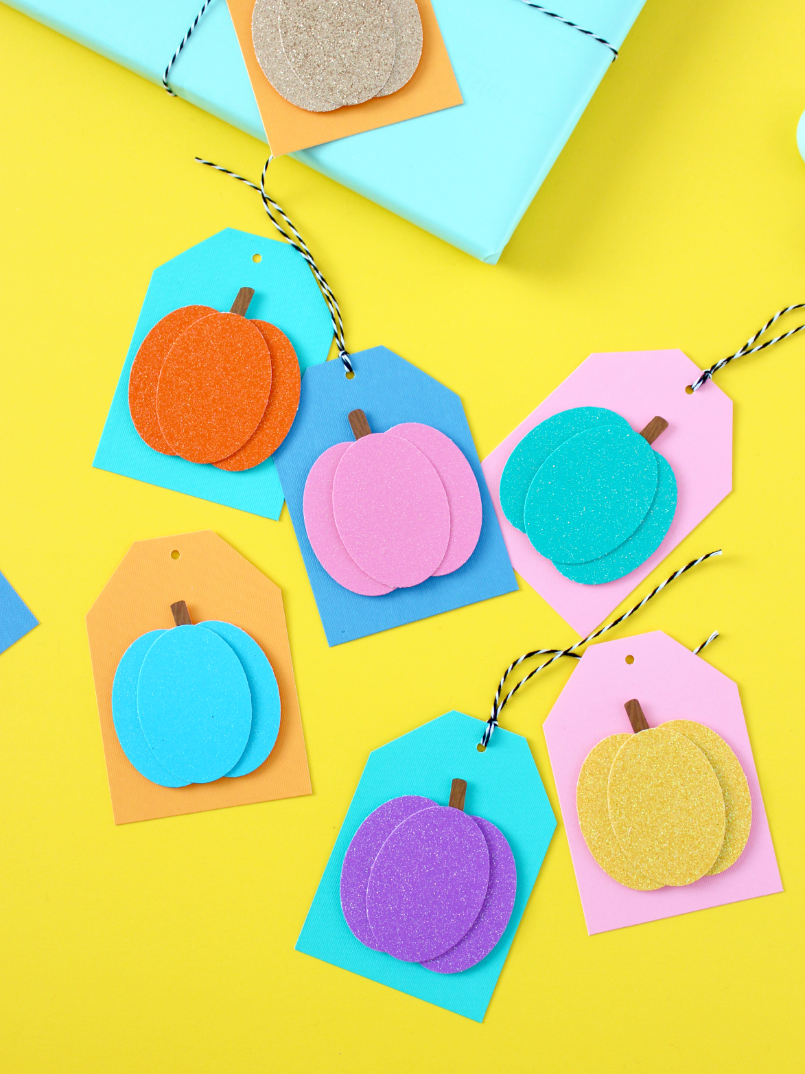 COLOURFUL PAPER PUNCHED PUMPKIN GIFT TAGS