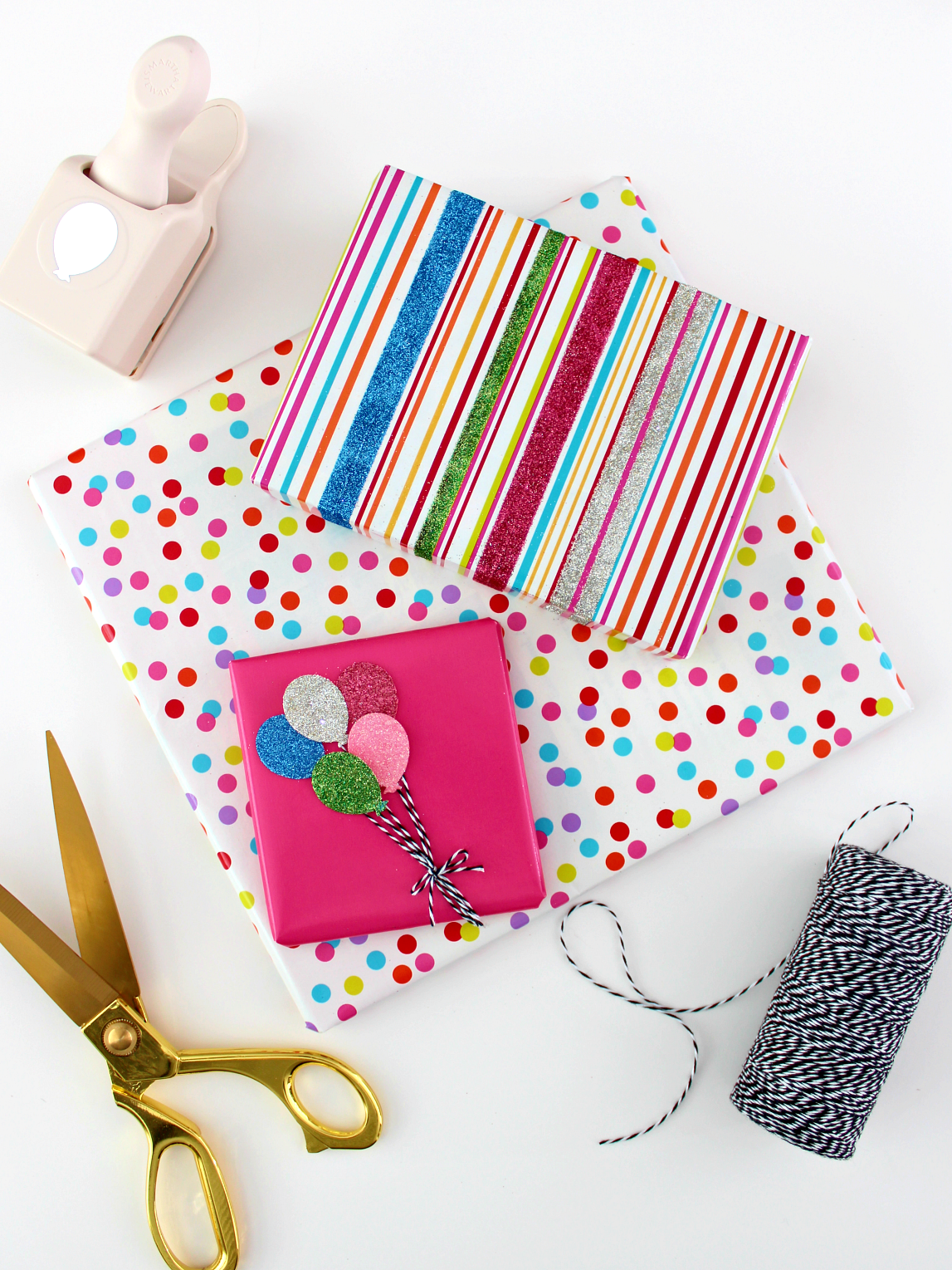 GLITTER GIFT WRAP & HOW TO MAKE YOUR OWN GLITTER SHAPES