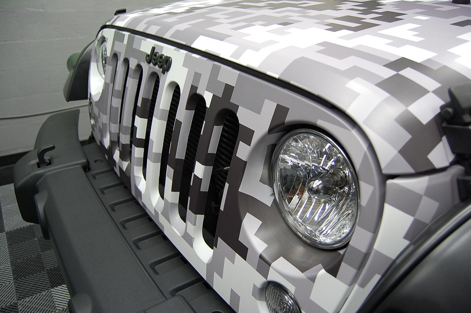 Jeep Custom Matte Snow Digi Camo Car Wrap Miami By First