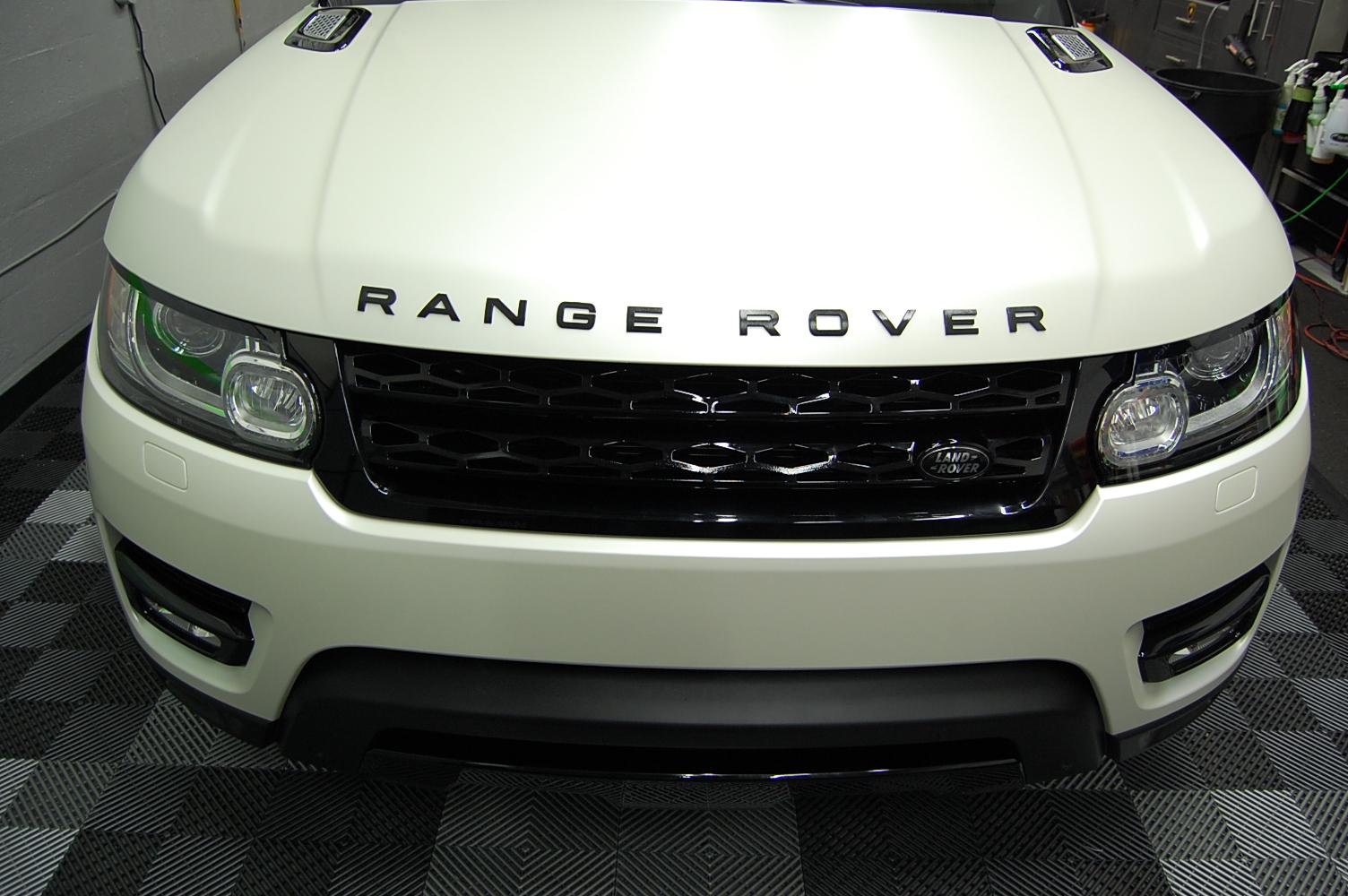 2014 range rover 3m satin pearl white car wrap miami with. Black Bedroom Furniture Sets. Home Design Ideas