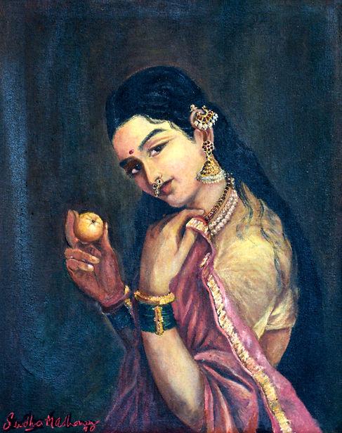14. Woman with Fruit - a Raja Ravi Varma