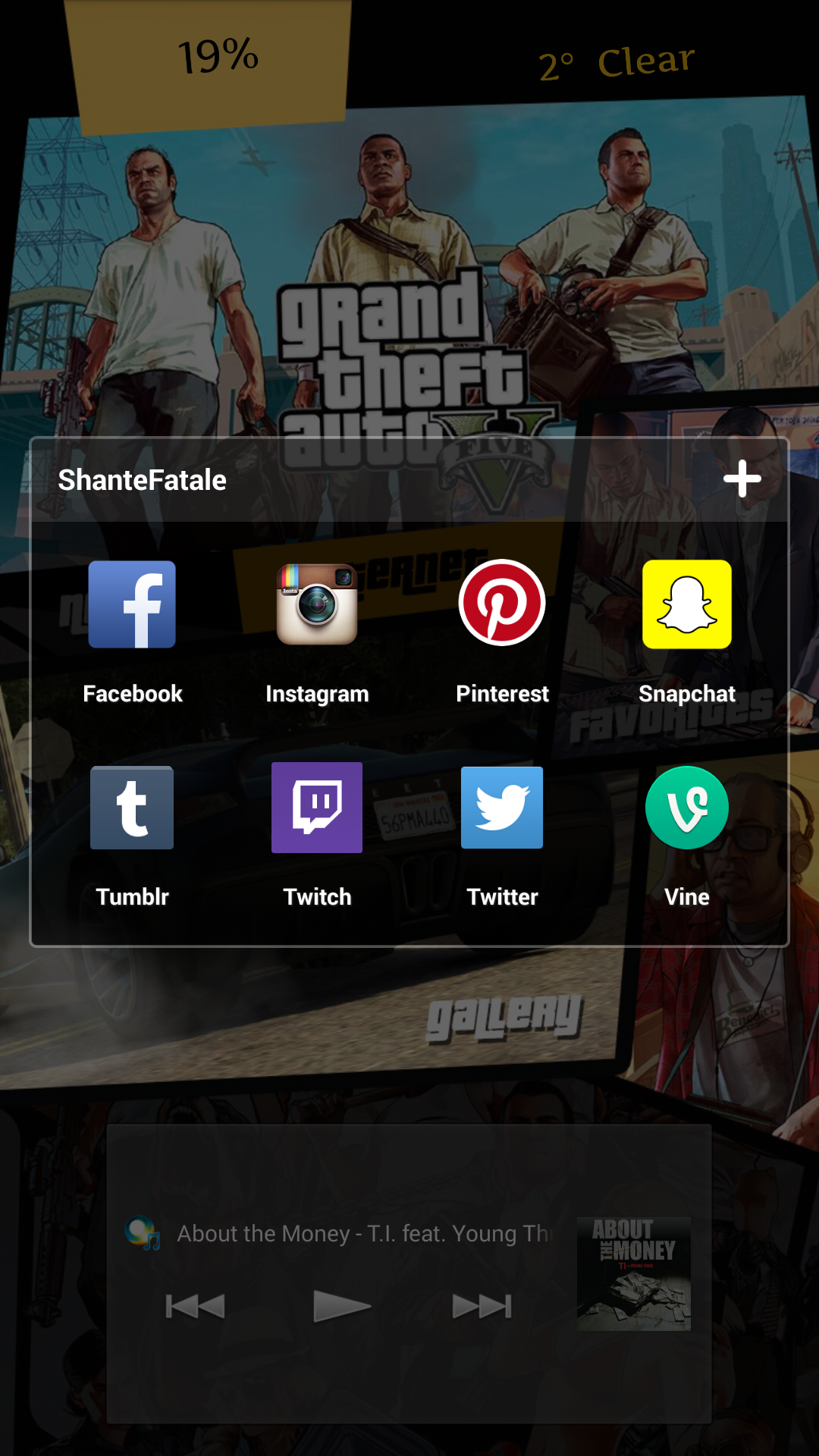 Google chrome theme gta v - Favorites Is A Folder Of All My Commonly Used Social Network Apps Gallery Is Obviously Gallery And I Have A Music Launcher Which Is Linked To My Sony Music