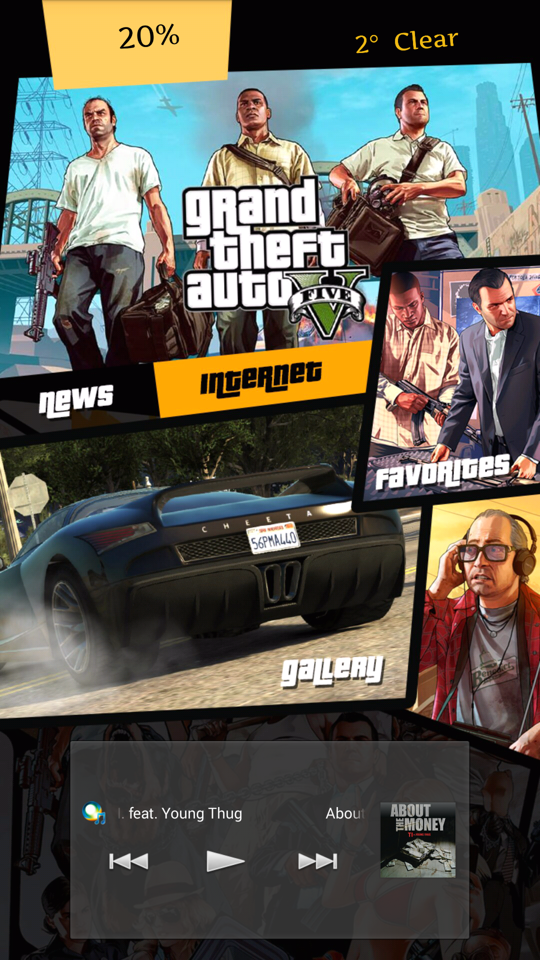 Google chrome theme gta v -  My Phone Battery Percentage And Weather It Once Again Has Title Names For Buttons My News Is Linked To The Vouge App Internet With Google Chrome