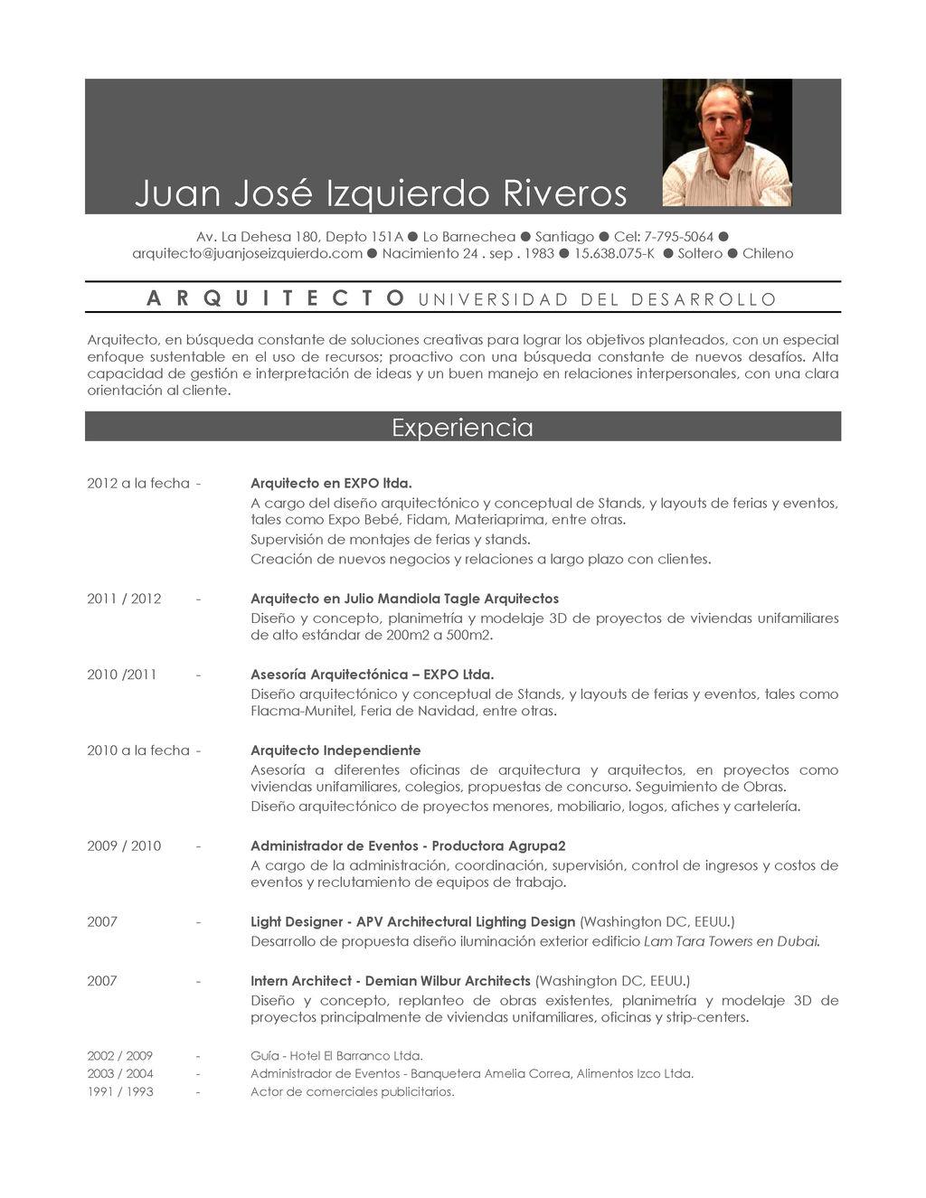 Curriculum Arquitecto Ejemplo