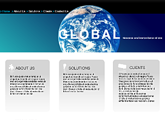 Global Ventures Template - Go Big with a global inspired Flash template. Navigation is clean and simple, offering you the option of adding client information, services and solutions.