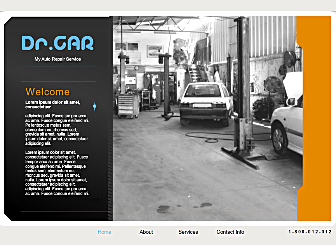Dr Car Repairs Template - This Corporate styled Flash template will help you create & increase your online presence with ease. Just add your unique texts & images and you are ready to get online in a Flash with our simple publishing wizard