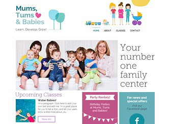 Mom and Baby Center Template - A family friendly theme combining playful illustrations and soft colors to make a website template perfect for community centers and groups. With plenty of space to add information about what's happening in your center, this template is great for anywhere with a lot going on. Simply edit the text and upload photos to start gathering an online presence and watch as your community grows!