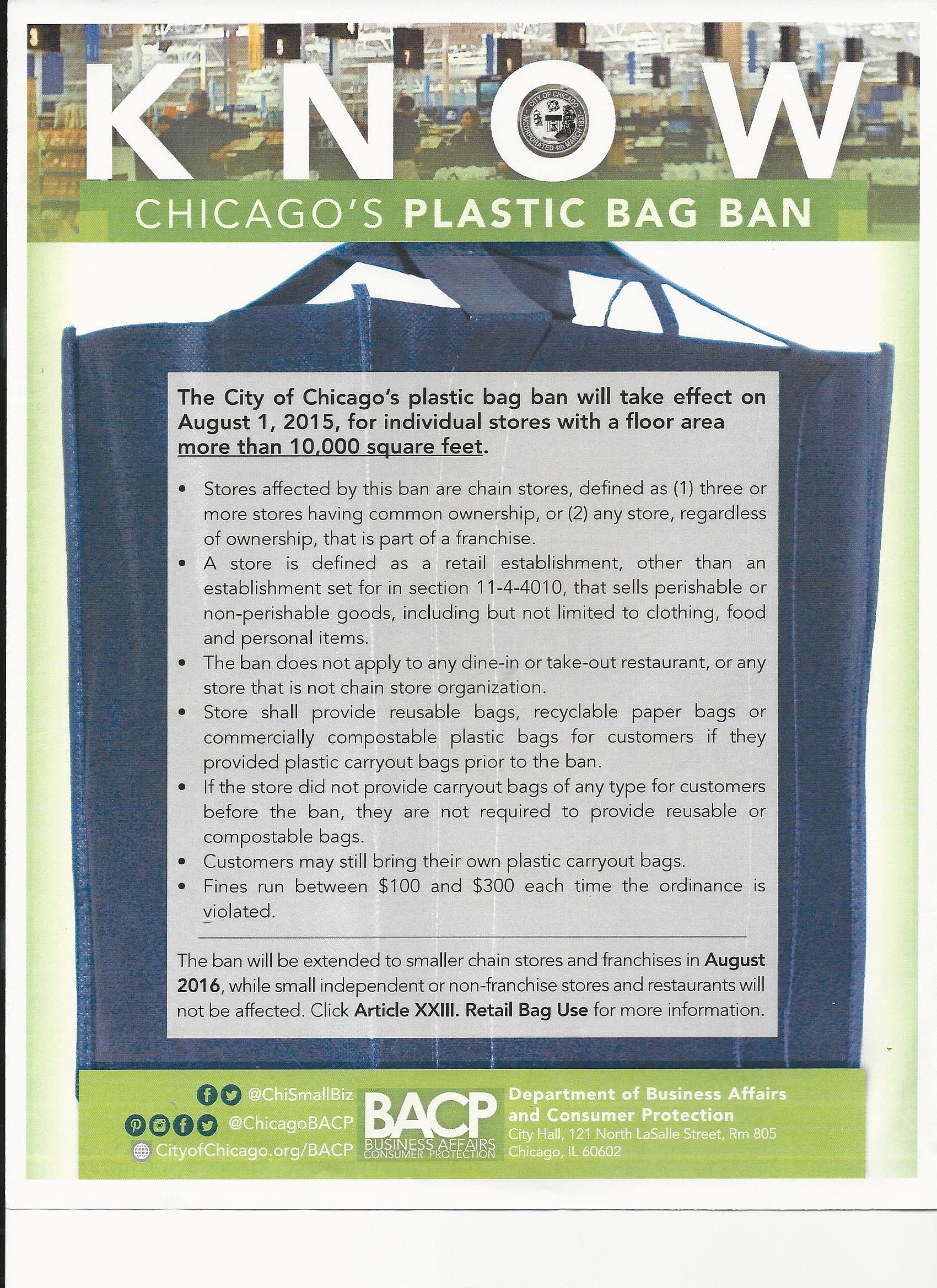 Plastic bag ban chicago - South Loop Chamber Of Commerce Chicago S Plastic Bag Ban Flyer Jpg