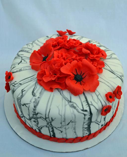Wix mariel oday wix red poppy bridal shower cake mightylinksfo