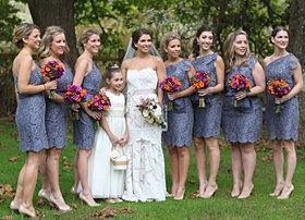 Purple and orange wedding flowers