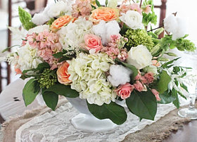 Country wedding centerpiece cotton