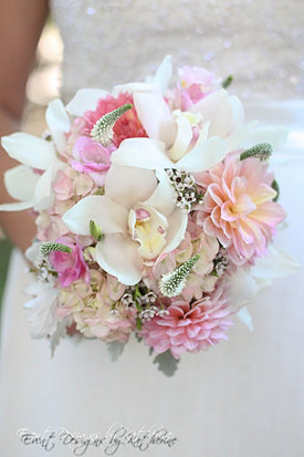 Pink orchid and dahlia bouquet