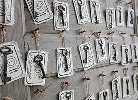 Vintage keys place cards wedding