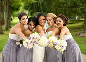 Purple and silver wedding flowers
