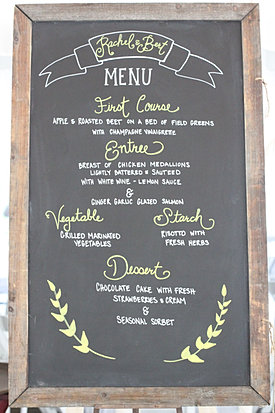Chalkboard menu rustic wedding