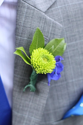 Green and blue boutonniere