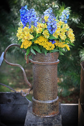 Yellow and blue wedding flowers