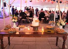 Rustic wedding dessert display pies