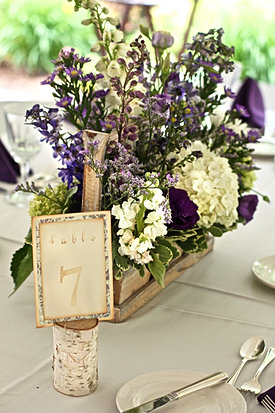Purple wildflower wedding
