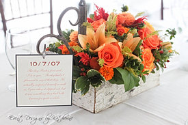 Rustic Orange Wedding Centerpiece