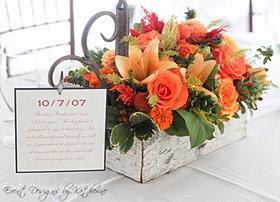 Rustic Orange Wedding Centerpiece