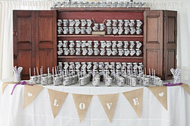 Wedding mason jar place card setup