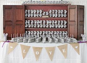 Wedding mason jar place card setup