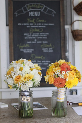 Yellow and orange wedding flowers