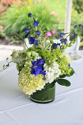 Green and blue wedding flowers