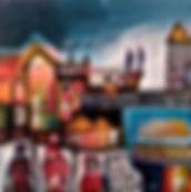 Tableau visible à la galerie Art Home Déco, Galerie d'art et artothèque, Bordeaux, Gironde, Aquitaine, Peinture figurative, ville, urbain