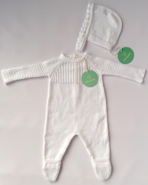 Fine Knit White Babygrow Rafa and Reenie
