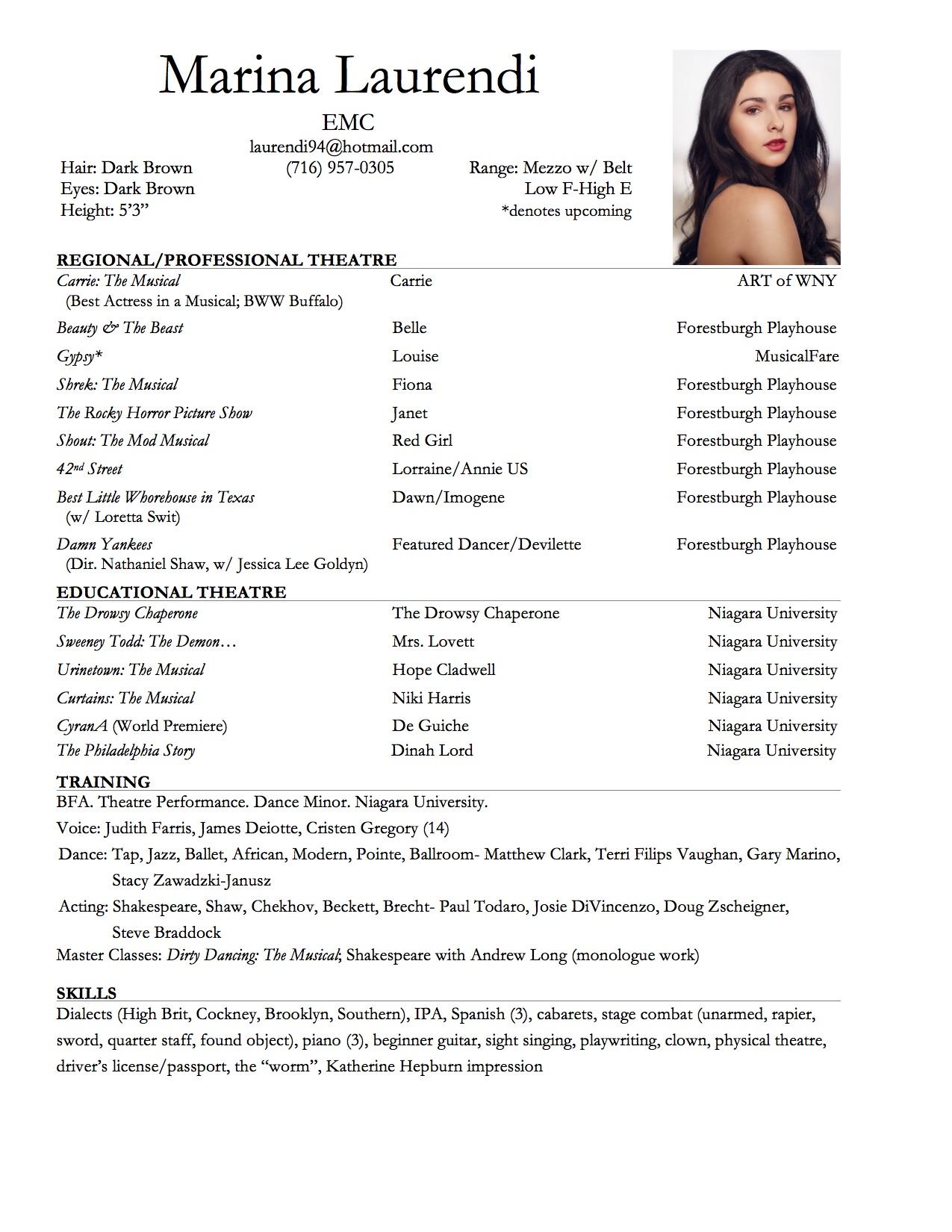dance resume template
