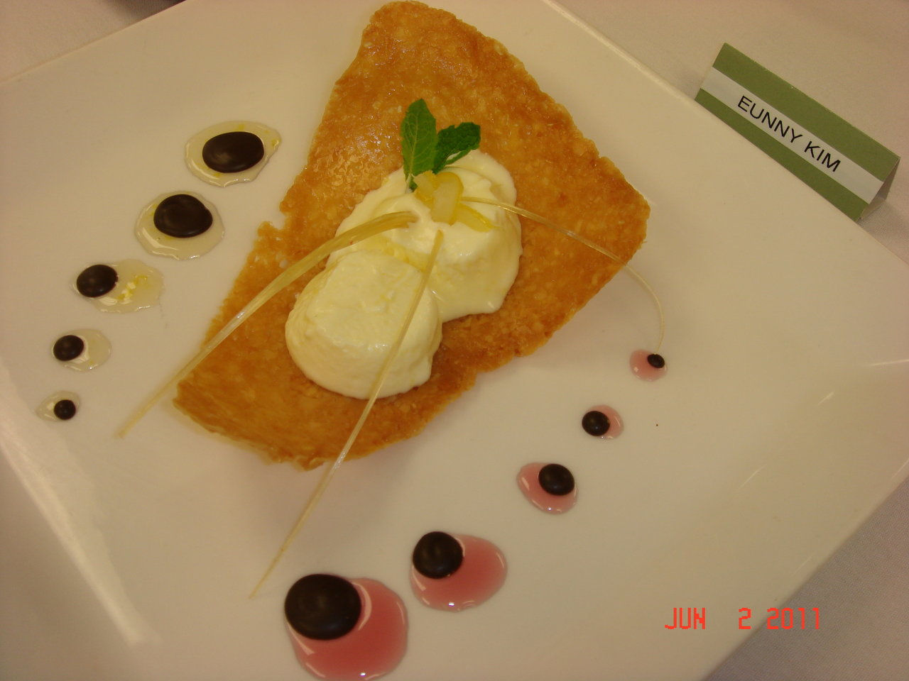 frozen lemon partait on tuile with lemon ginger and cassis sauces and ...