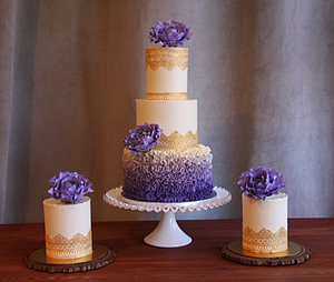 Purple And Gold Wedding Cake Pictures - Best Wedding Cake 2018