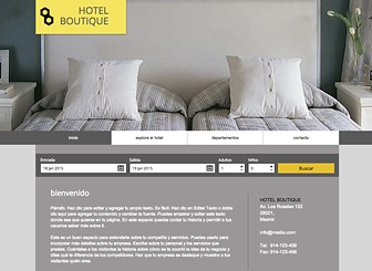 Hotel boutique Template - Transmite la lujosa atmósfera de tu hotel con esta elegante plantilla. Lleva la atención a las habitaciones, tarifas e instalaciones al subir fotos y agregar texto. ¡Comienza a editar y crea tu presencia online!