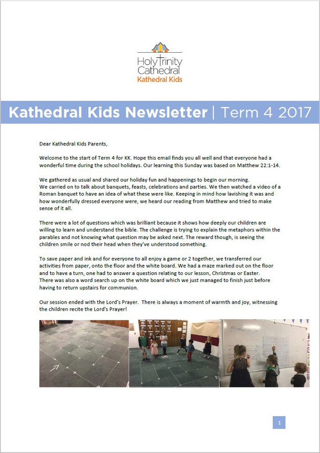 Please Click The Image Below To View The Newsletter . Click Here For More  Information On The Kathedral Kids.