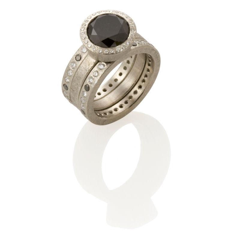 Uncut Black Diamond Ring Black Diamond Ring Set