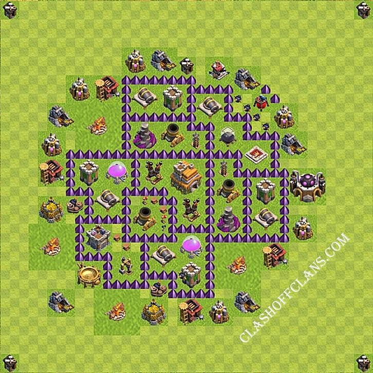 clash of clans тх 7 расстановка фарм и кубки #2