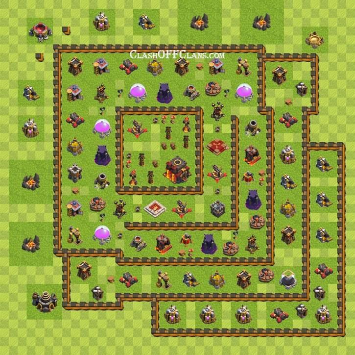 Лучшие базы Clash of Clans - расстановка Ратуша уровень 9 ...