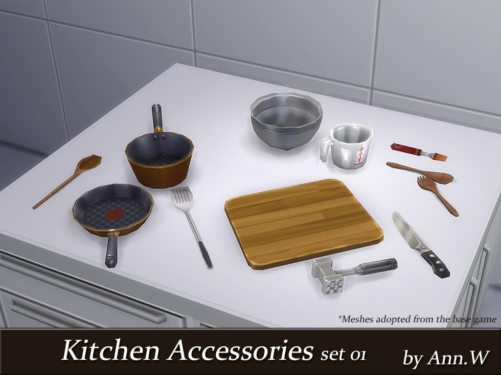 Restaurant Kitchen Accessories kitchen accessories set 01 - 12 meshes | ann the sims 4 | game cc